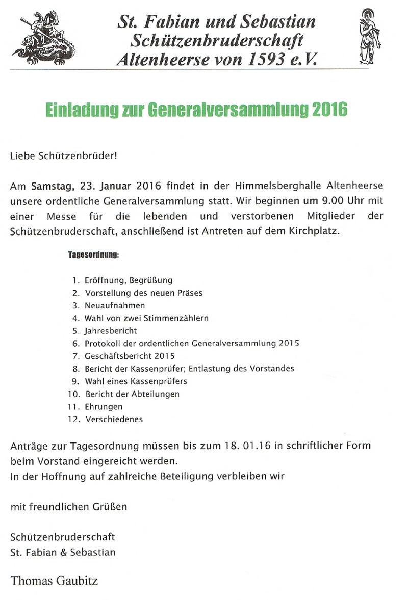 Einladung zur Generalversammlung 2016